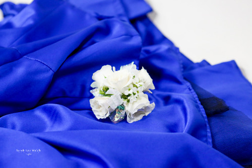 White Rose fresh flower Corsage. A Neutral Choice with many colors.