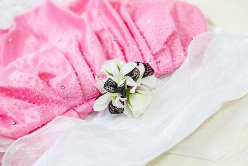 Mixed White Flowers, Black Accent Corsage