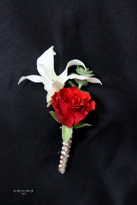 Red Rose, White Orchid, Bling Boutonniere