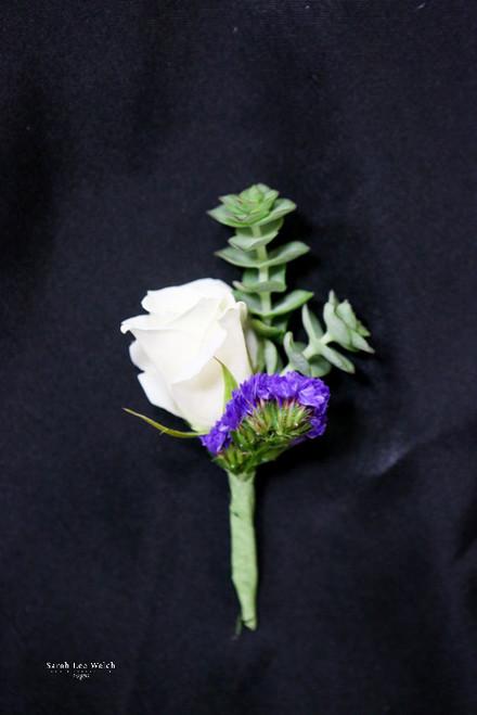 White and Purple Succulent Boutonniere