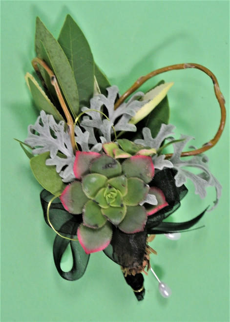 Sometimes just greens and a great succulent make just the right corsage!!