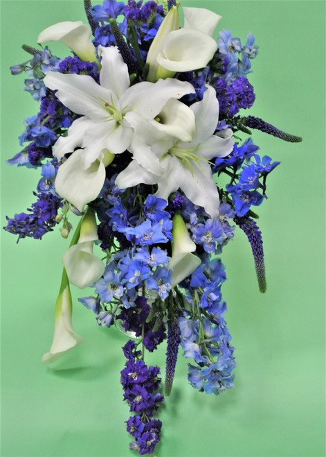Just  in the mood for blue and white bridal bouquet? we have the most amazing bouquet for you.  This stunner includes fabulous white oriental lilies, blue delphinium, and white mini calla lilies in the incredible cascading design.