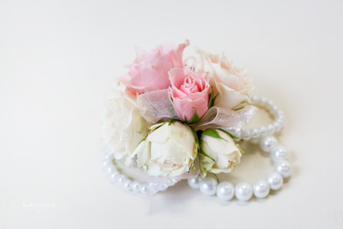 Pastel White and Pink Rose Bouquet on Bracelet