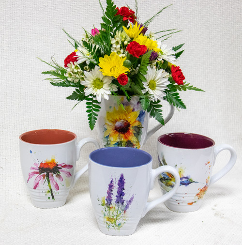 This watercolor mug collection is perfect for the office and all occasions! We choose an awesome mug from the collection and arrange a mix of beautiful fun fresh flowers in it!