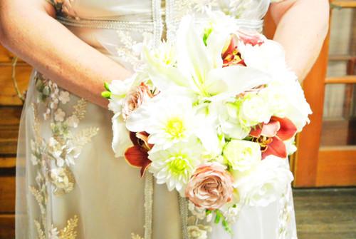 White Rose Accent Bridal Bouquet
