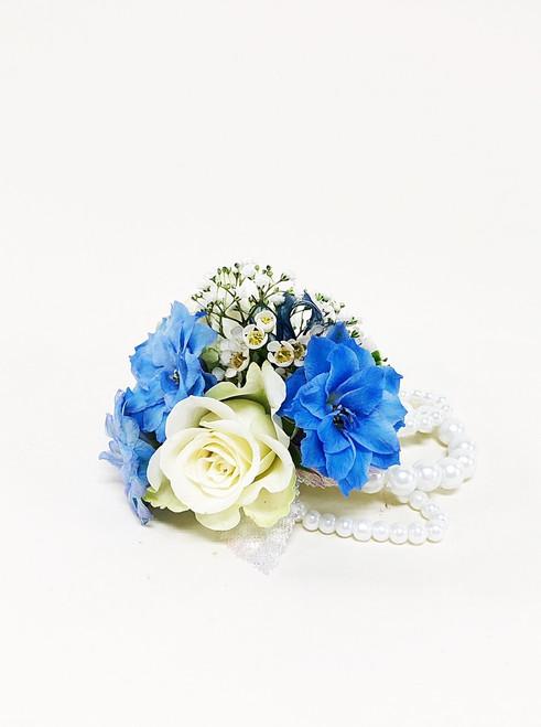 Beautiful Blue and white wrist corsage