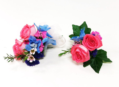 Beautiful mix of colors in this matching corsage and boutonniere in this summer design.