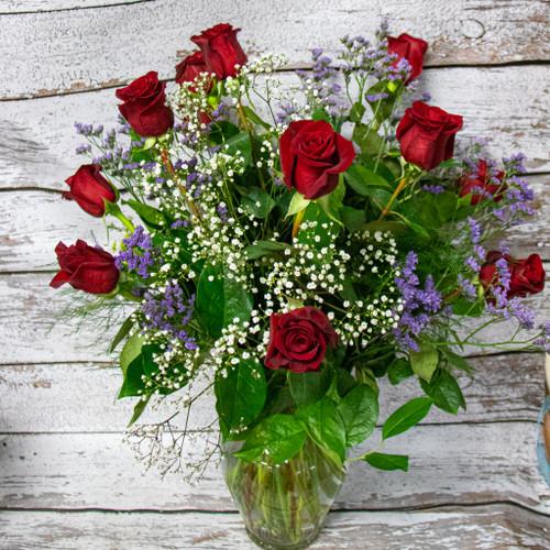 Knock Your Socks Off Roses Vase Arrangement -Pick Your Color-