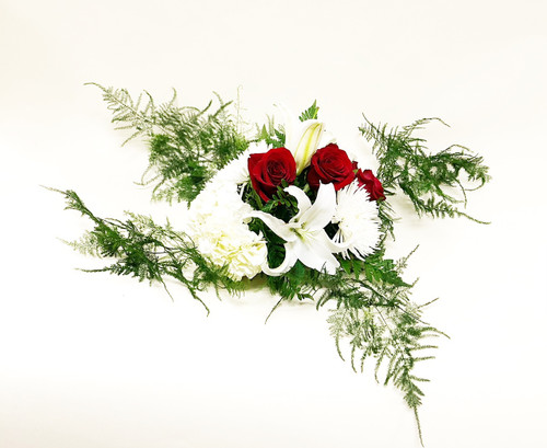 The floral piece alone with no vase