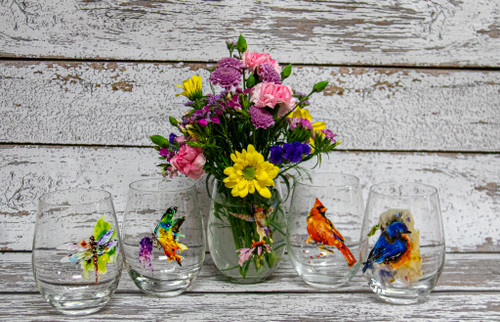Send a little something! flowers beautifully arranged in one of these amazing watercolor designs. The  wine glass designs vary from birds to flowers!