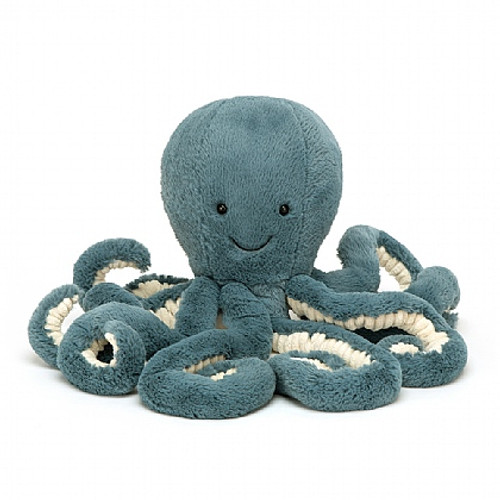Storm Octopus is a bubbly sort, and you would be too, with eight amazing tentacles! Squishy and cheery in terrific teal, this softy is scrummy to curl up with. Shake hands and feel the scruffled cream fur beneath, then let go and pyoinggg - there's a spring in the step!
