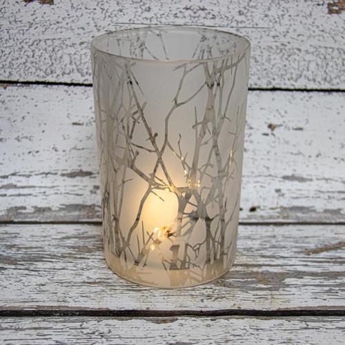 Silver Embellished LED Hurricane Glass 6x4