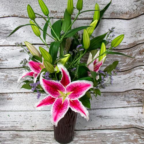 Stargazer Lilies Vase Arrangement -Choose Size_