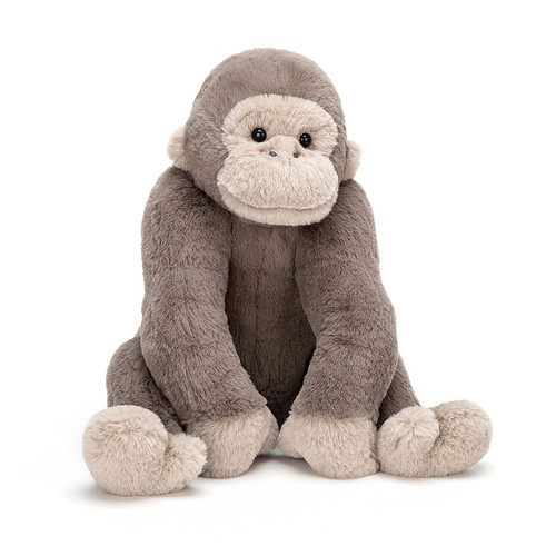 Gregory Gorilla is a very proud fellow, with long, long arms for great ape cuddles! He's velvety-soft, with mocha fur, creamy contrast paws and a cute inquisitive face. He sits up well, thanks to his beany bottom, and looks just like his wild, whooping cousins!