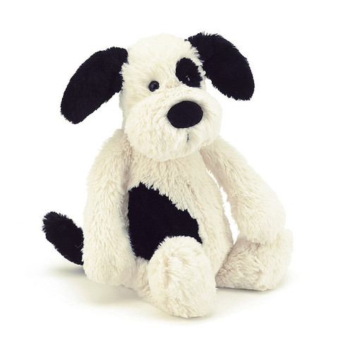 Silky-soft and lovingly loyal, Bashful Black & Cream Puppy wants to play all day! His smudgy black patch and sooty tail make him even more adorable!