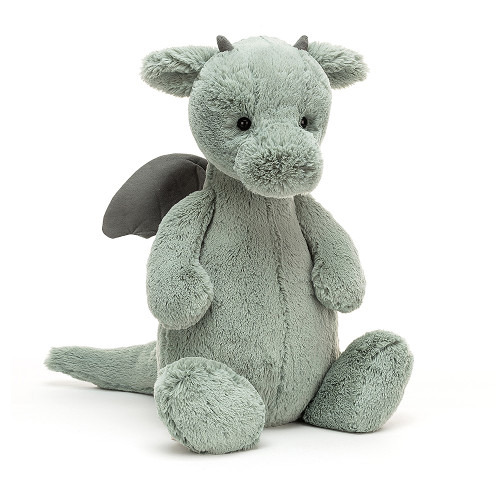 Bashful Dragon is a fierce little friend, with plenty of attitude! With supersoft fur in pale sage green, suedey horns and a long, squidgy tail, this brilliant beastie is pretty fantastic. We love those neat little contrast wings, chunky feet and fine flap