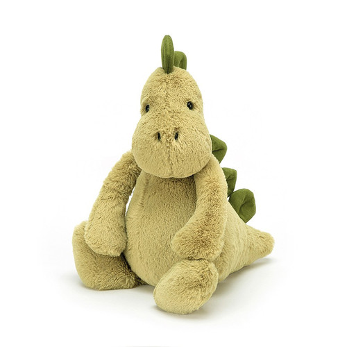Bashful Dino is making history! Soft, not scaly, this mossy matey has chunky stomper-feet, a snuggly snout and fine squishy spines from head to tail! This dynamic dino is always rambling round, giving hugs to every t-rex and triceratops!
