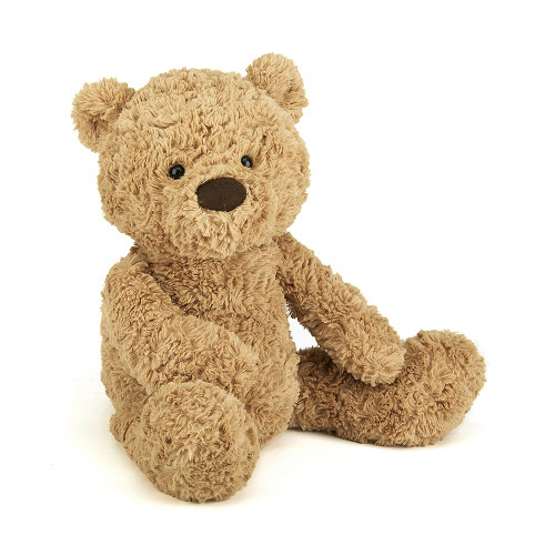 A sandy, dandy teddy, Bumbly Bear is simply scrummy. A ruffly, fluffy fellow with an extra-long snout for vintage style, he's a classic bear with a modern twist. His large head and tummy and chunky feet make him just the chap for bedtime hugs