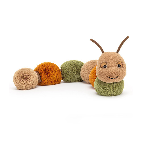 Dreamy, bobbly Figgy Caterpillar loves to loaf about. With beige, sage and ginger bobbles and cordy in-betweeny sections, this sleepy squiggle is garden-glam. Bumbling along with antennae wiggling, Figgy's a pompom poppet.