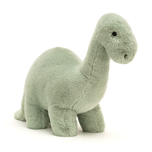 Fossilly Brontosaurus is minty-soft, with a long, long tail and a strong stretch neck. It's handy for reaching the tasty ferns! This chunky chum loves to rumble along on squashy feet, singing a bronto-chorus!