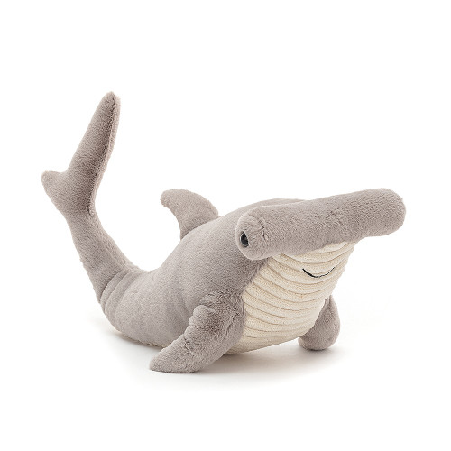 Now that's what we call some strong sea style! Harley Hammerhead Shark has a gorgeous chunky head with briny blue eyes on either side! Silvery-soft with a cordy cream tummy, this smiley shark is flippering fintastic!