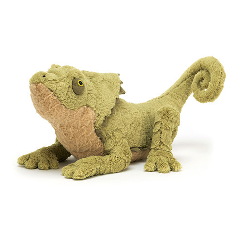 Logan Lizard has amazing fur scales in soft sage waves, with a butterscotch belly. Bobbly-eyed and curly tailed, with knobbly toes and a cool suedey crest, this rascally reptile is ready to pounce on a breakfast of juicy bugs!