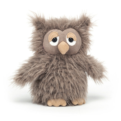 A squat, tufty scruffkin - that's Bonbon Owl! Scrumptiously tactile, this sleepy owl has ruffled, tussled cocoa fur and tiny flip-flappy wings. With suedey caramel feet and beak, and dreamy-droopy eyes, this Bonbon is perfect for bedtime cuddles.
