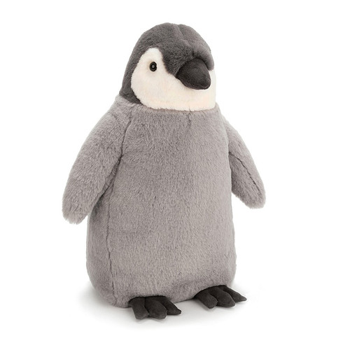 Perky little Percy Penguin will toddle and waddle right into your arms! A squat little sweetie, this fluffy grey chick still has his baby feathers! With supercute markings in charcoal and cream, he's a proper little emperor!