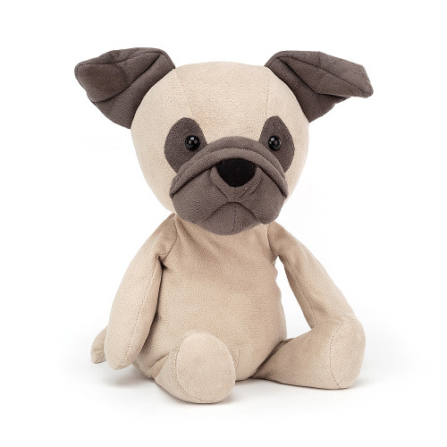 Foldy-flopsy with a snub little nose, Pablo Pug is a bundle of cuddles. With short suedey fur in creamy-beige and pebble ears, muzzle and patches, this dapper doggo is a stylish sniffer. There's an art to looking this cute!