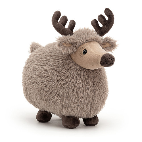 Rolbie Reindeer is a roly-poly rascal, in shaggy-soft latte fur! With a snoozy expression, butterscotch face and cocoa snoot, hooves and antlers, this festive fuzzball is hard not to hug! Curl up and dream of sweet sleighbells!