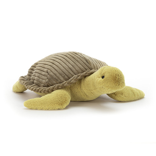 Terence Turtle is a splendid sea scout - even his tummy is seaweed green! Soft as the surf and dreamily gentle, he's wearing his coolest cordy cocoa shell - check out that neat stitchy frill!
