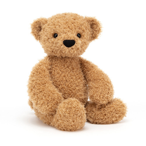 Theodore Bear is a classic cutie with the twirliest fur in scrummy honey tones. Huge soft paws and a cuddly tummy make this timeless teddy a friend for life. Be sure to read him lots of beary tales!