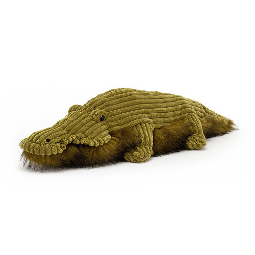Wiley Croc has swamps of style, and a bobbly eye for a fabulous look. This croc has chunky mossy scales and legs, a soft mouth frill and a splendid fuzzy tummy! With a long, lazy tail to steer down the river, Wiley's always fashion-forward.