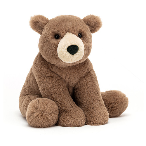 Woody Bear Medium has just woken up from hibernation! Fancy a picnic, anyone? A soft chocolate cub with a beige teardrop snout, Woody sits sweetly with chunky paws poised. Ramble and rumble with this forest friend.