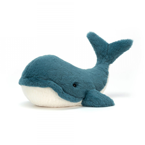 Fresh from the ocean and full of smiles, it's wonderful Wally Whale! He's a beautiful buddy with vibrant teal fur and the softest, most tickly underbelly. This quirky whale holds his splendid tail high, and just a little to the side