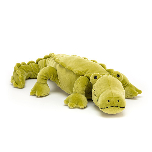 Zigzag Croc is mooching around in a wriggly, jiggly crocodile way. Lime-green, silly and super-stretchy, this squashy scamp has a squiggly smile! With bobbly eyes, beany feet, soft frill spines and a long curve tail, this croc's a keeper!