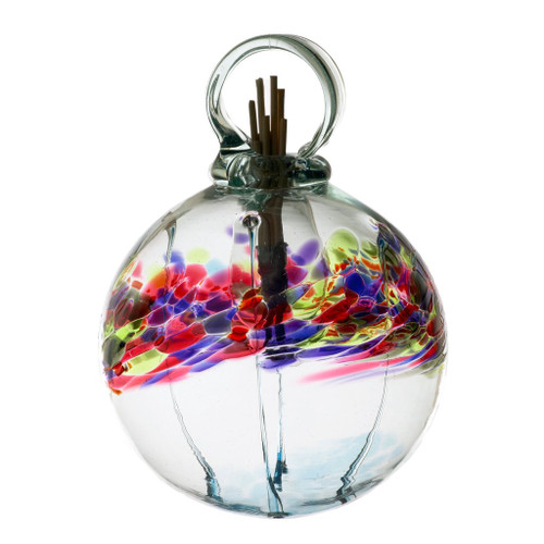 Set the mood with an inspired, affordable gift that can be used anywhere in the home. Fill the air with fragrance using these stylish, low maintenance, handblown glass diffusers. An effortless way to scent any room. Comes with natural diffuser reeds and one ounce of starter oil.  This is a hanging product.  Scent: Plumeria