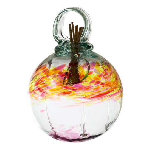 Set the mood with an inspired, affordable gift that can be used anywhere in the home. Fill the air with fragrance using these stylish, low maintenance, hand blown glass diffusers. An effortless way to scent any room. Comes with natural diffuser reeds and one ounce of starter oil.  This is a hanging product.  Scent: Cinnamon Vanilla