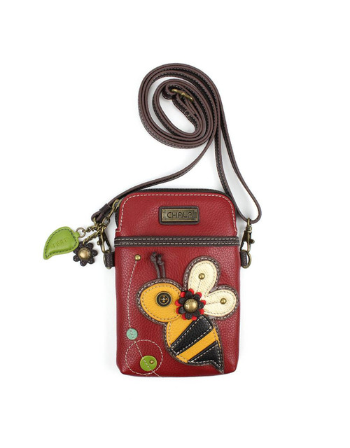 Convenient, Compact, Fun Small front pocket adorned with a Bee character Adjustable strap - turn bag into a purse, a crossbody bag, or even a pouch Top zipper closure Leaf zipper pull Soft lining inside 3 credit card slots inside 2 Adjustable straps that are detachable Extra padding throughout bag to protect your cell phone