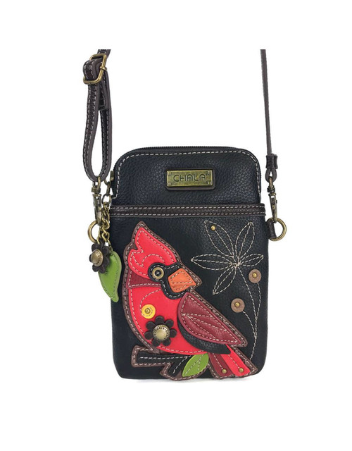 Convenient, Compact, Fun Small front pocket adorned with a Cardinal character Adjustable strap - turn bag into a purse, a crossbody bag, or even a pouch Top zipper closure Leaf zipper pull Soft lining inside 3 credit card slots inside 2 Adjustable straps that are detachable Extra padding throughout bag to protect your cell phone