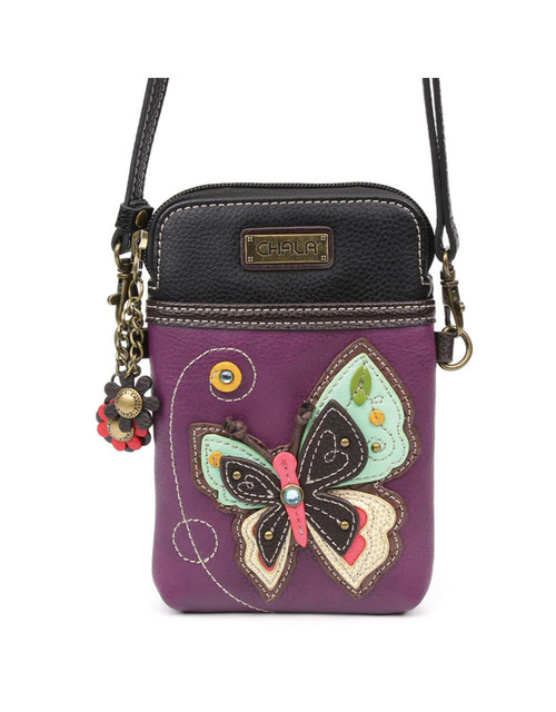 Convenient, Compact, Fun Small front pocket adorned with a Butterfly character Adjustable strap - turn bag into a purse, a crossbody bag, or even a pouch Top zipper closure Leaf zipper pull Soft lining inside 3 credit card slots inside 2 Adjustable straps that are detachable Extra padding throughout bag to protect your cell phone