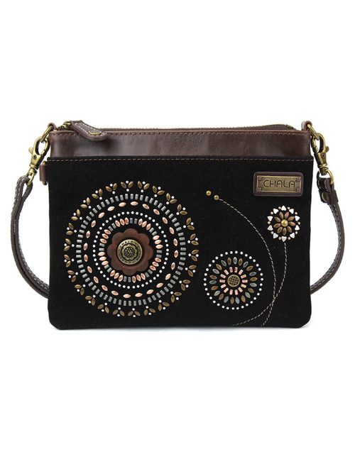 Stylish, compact, versatile Adorned with dazzling faux leather bohemian design Adjustable shoulder strap 1 Internal Zippered Compartment 1 External Zippered Compartment Multiple Credit Cards Pockets Patterned fabric lining Features antique, brass toned hardware