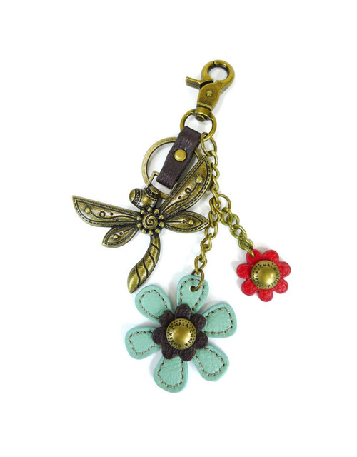 Hold your keys with style Comes in individual packaging  Antique bronze toned Dragonfly key chain Comes with bonus flower and leaf charms as shown Easy to attach onto a bag, luggage, or keys