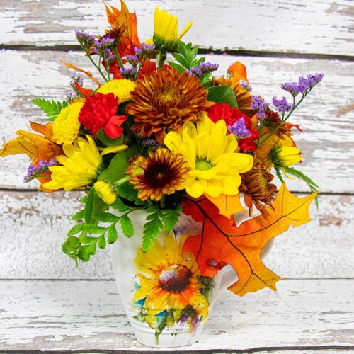 Beautiful Dean Crouser watercolor sunflower mug with a vivid arrangement of autumn flowers!