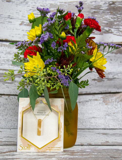 Fun fall arrangement arranged in a mason jar with a beautiful Scout Citrine Necklace.