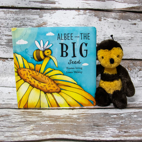 Filled with colour illustrations and a wonderful adventure, Albee And The Big Seed makes for a great bedtime read and is made complete with Bashful Bee to accompany the story.