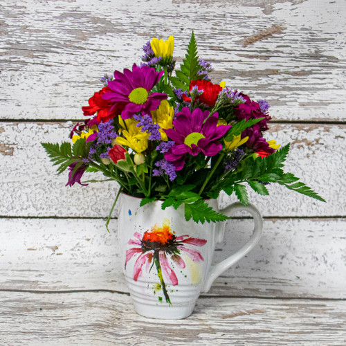 Echinacea Watercolor Mug Arrangement