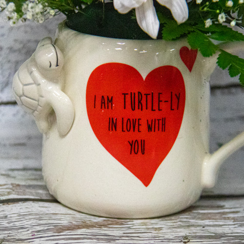 """""""I am TURTLE-LY in Love With You"""" Turtle Mug Arrangement"""