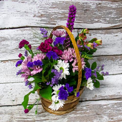 Purple Rain Basket Arrangement