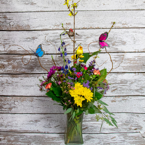 Birds and Butterflies Vase Arrangement
